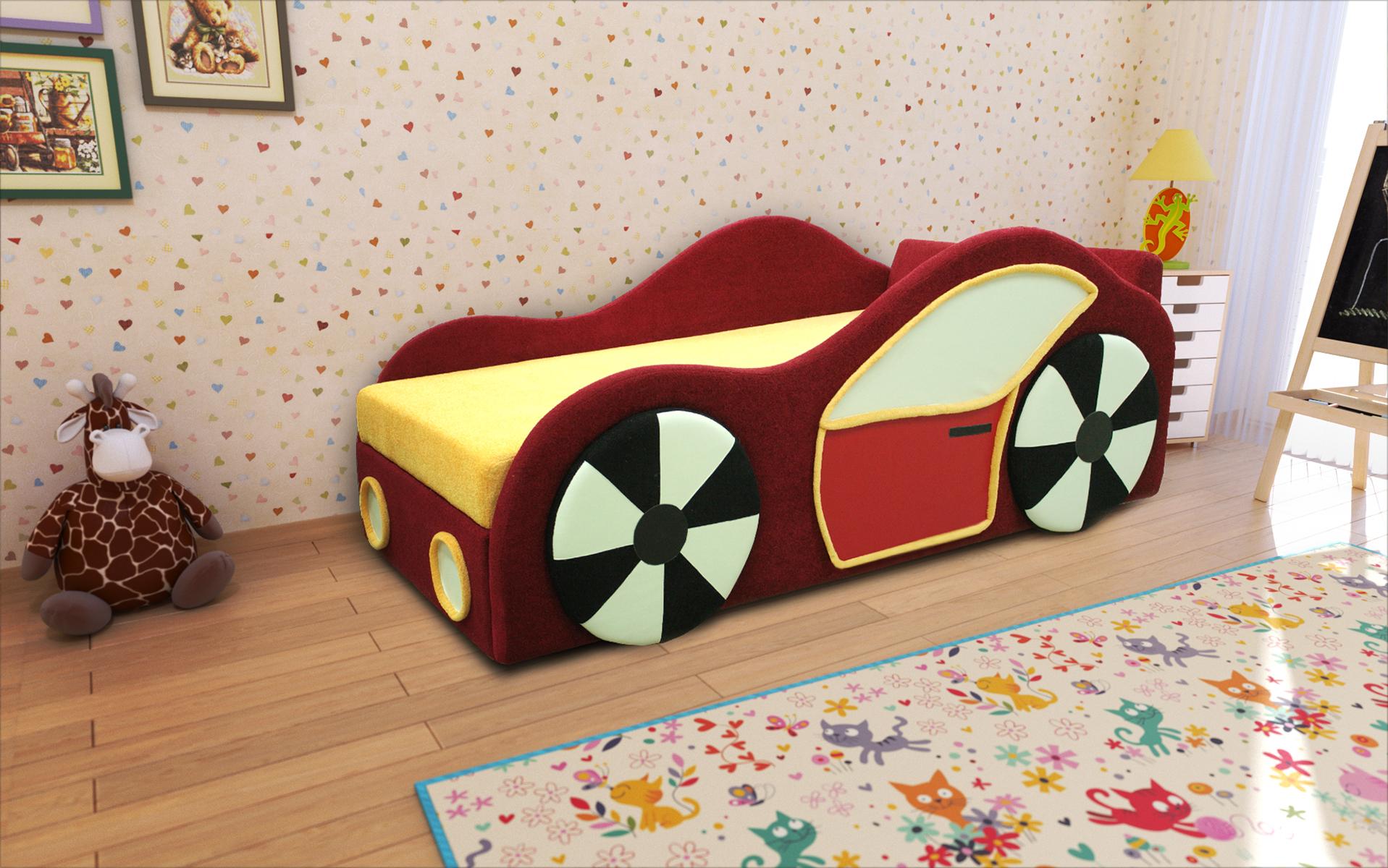 Машинка кровать детская правая дешево в Новосибирске — интернет-магазин мебели